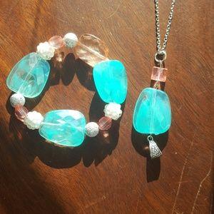 2PC Necklace & Bracelet Set/Pink/ Teal 💙 & Silver